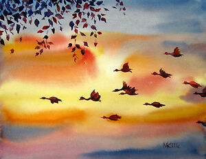 Image Is Loading Sunset Flying Birds Leaves Watercolor Landscape Painting