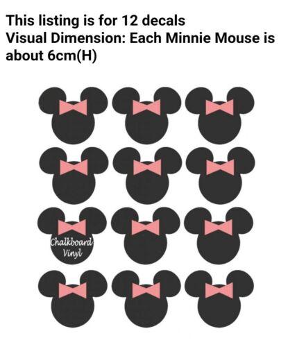 12 x Minnie Mouse Tableau Noir Vinyle Autocollants étiquettes mariage fête pot accessoires