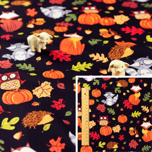 HALLOWEEN Meter//Fat Quarter//FQ Cotton Fabric Sew Quilt Craft Pumpkin Fox Leaves