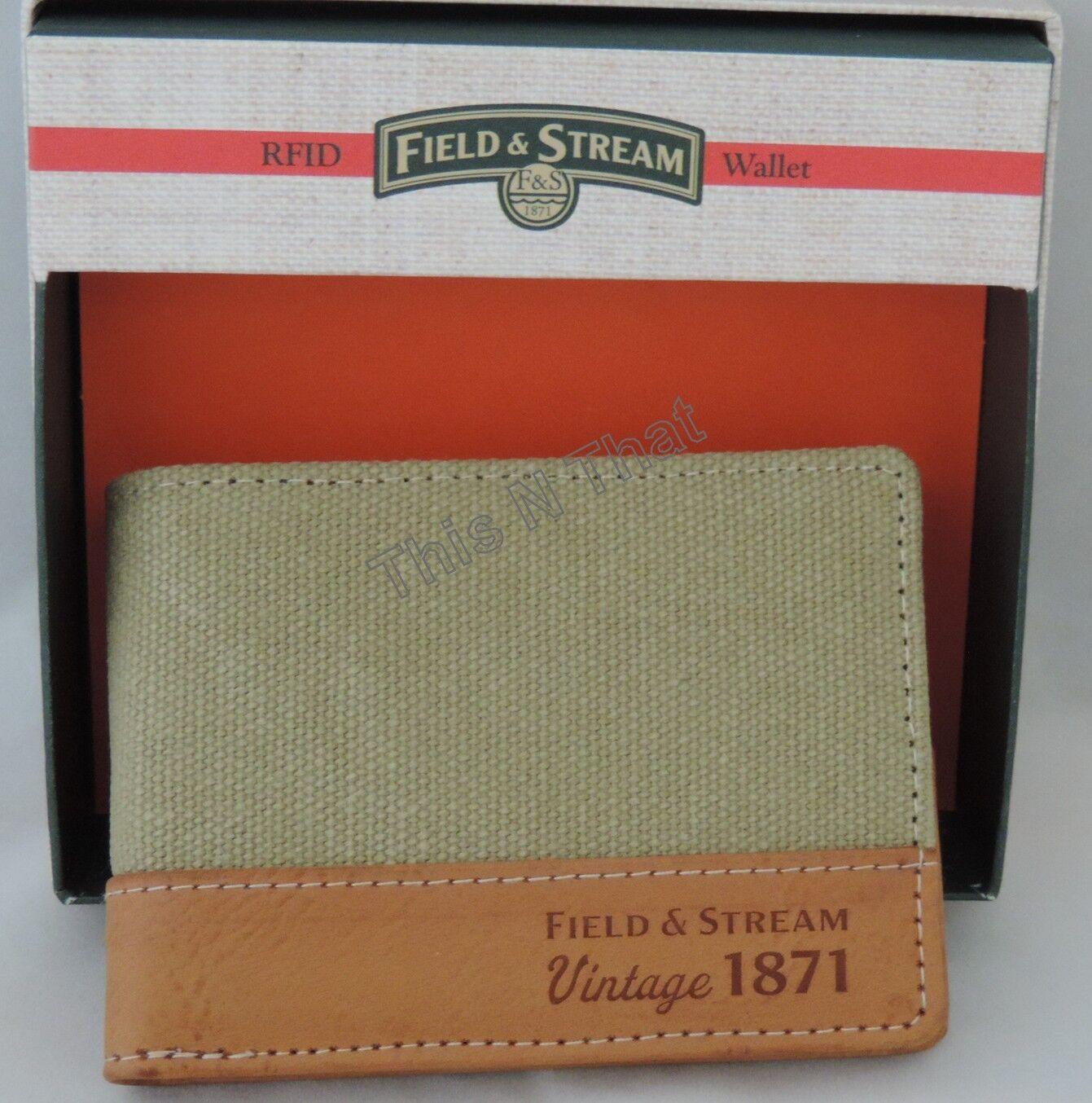 Mens Field & Stream Buxton RFID Distressed Canvas/Leather Khaki Wallet Bi-fold