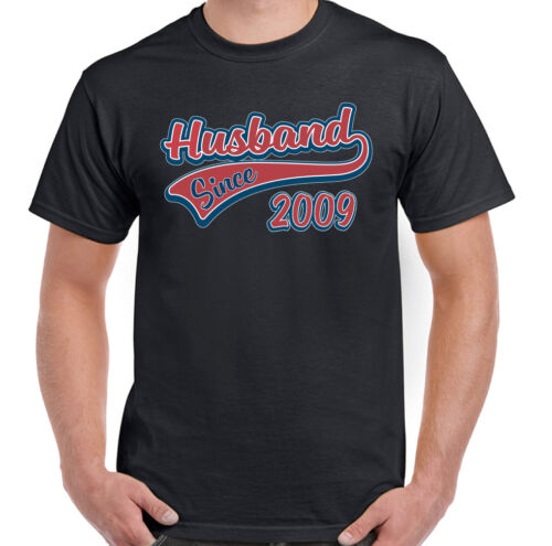 Husband Since 2009 Mens Funny Wedding Anniversary T-Shirt Fathers Valentines Day