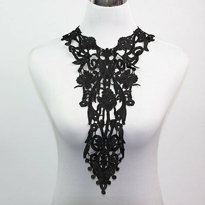1 / 10 Pcs Big Long Black Off White Appliques Neckline Collar Venise Lace Trims