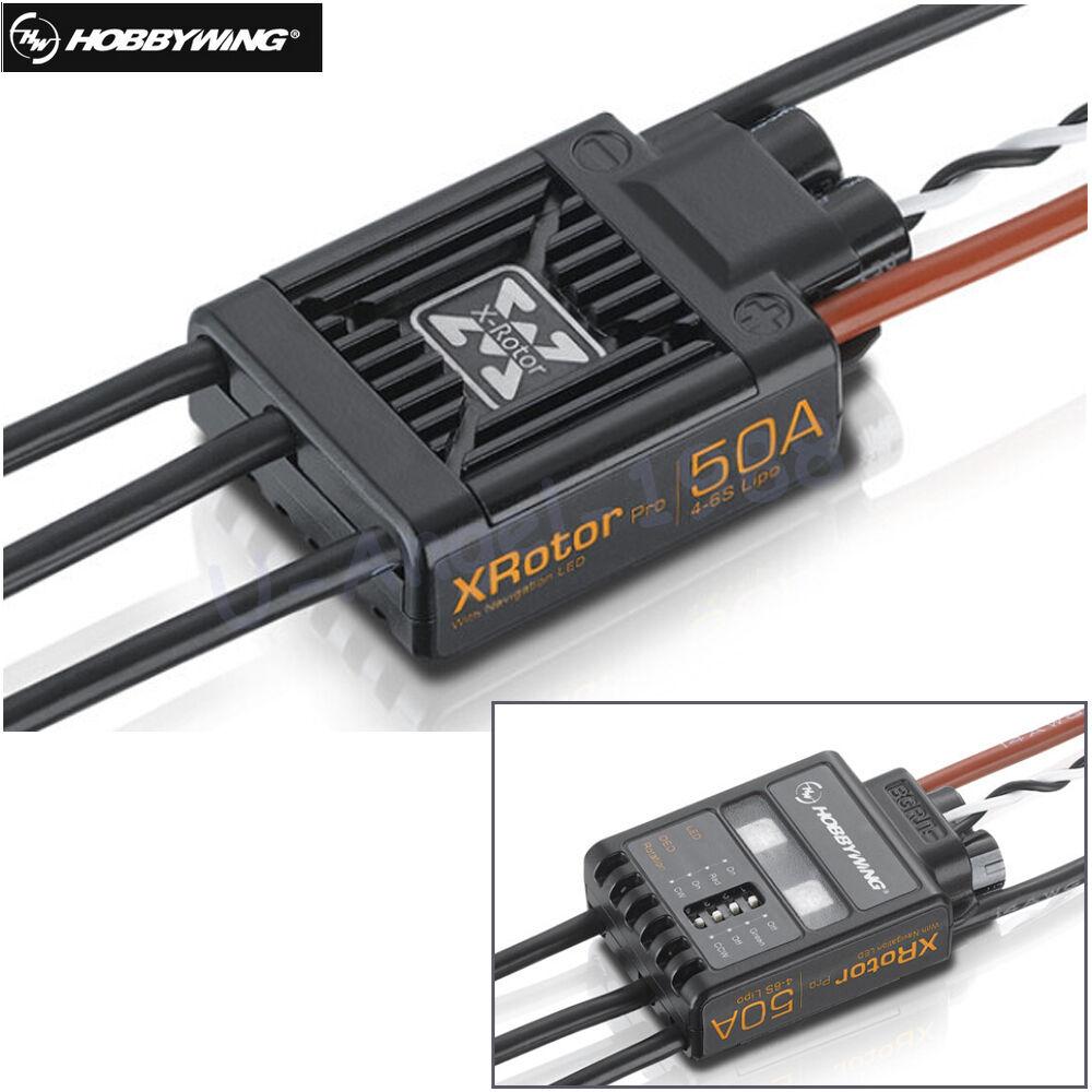 2x original Hobbywing Xredor Pro 50A 2-6S ESC Brushless Motor Speed Controller