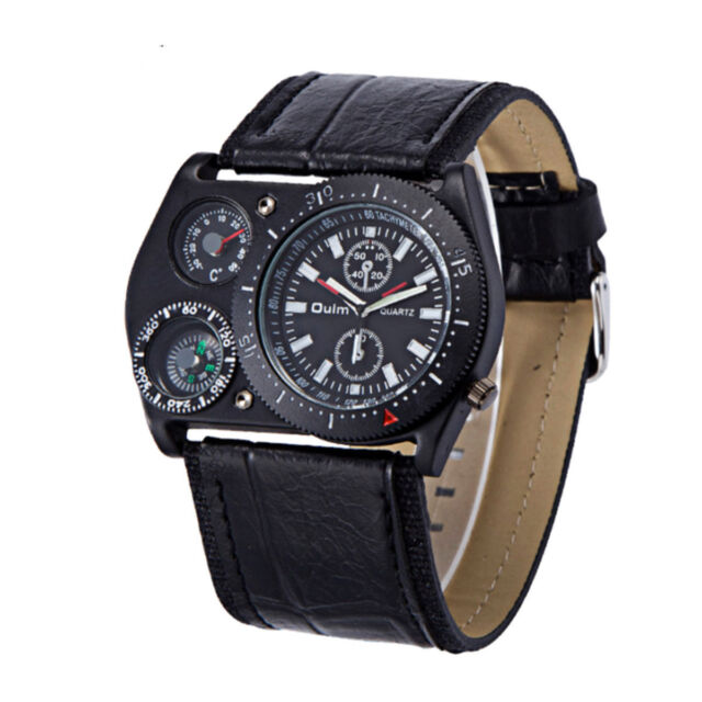 OULM Cool Military Army Quartz Wrist Watch Leather Sports Hours Mens Boy US Fast
