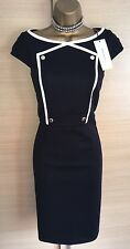 Exquisite Karen Millen Brand New Blue White Button Detail Pencil Dress Uk12