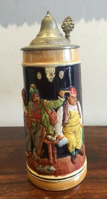 Vintage Ceramic/Pottery Lidded Beer Stein