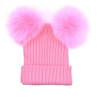 Women's Winter Beanie Outdoor Chunky Knit with Double Fur Pom Pom Cute Hat