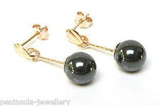 9ct Gold Hematite ball drop Earrings Made in UK Gift Boxed