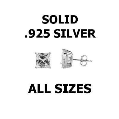 .925 Sterling Silver Square Princess CZ Studs Earrings