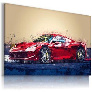 PAINTING FERRARI ITALIA RED Cars Wall Art PRINT Canvas Picture  AU835 MATAGA
