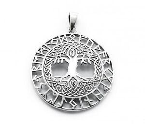 Mittelalter & Gothic Anhänger Weltenesche Mit Keltischen Knoten Und Runenband Aus 925 Sterlingsilber Top Wassermelonen