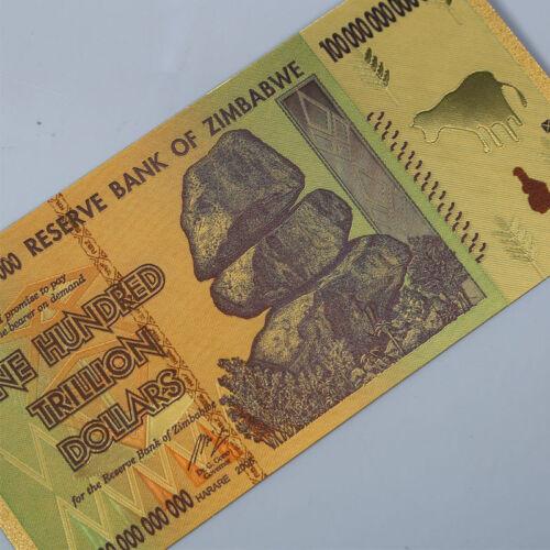 10pcs Zimbabwe Gold Foil 100 Trillion Dollars Banknote Bill World Money Collect