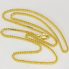 Authentic 18K Yellow Gold Necklace 2mm Wheat Link chain 65cm L