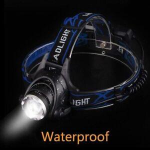 Wasserdicht-10000LM-LED-Scheinwerfer-Stirnlampe-Lampen-Kopflampe-2xAkkus-1x-plug
