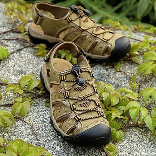 EG_ Men's Fashion Sandals Summer Outdoor Cattlehide Leather Shoes Slippers Preci