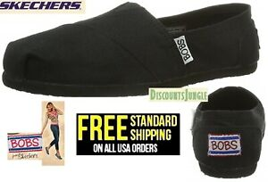 BOBS-from-Skechers-Earth-Day-Slip-On-Flat-Women-039-s-Shoes-size-8-to-11-BLACK-NEW