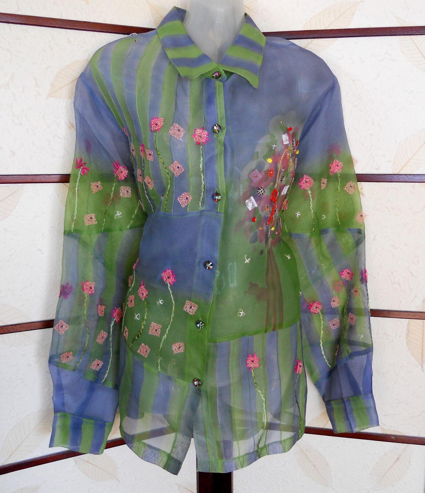 ❤️ Sandy Starkman Long Sleeve bluee Green Silk Top XL NWT Spring Floral g