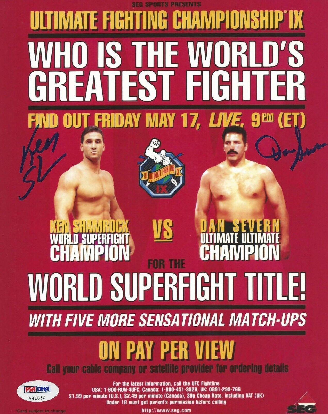 Ken Trébol & Dan Severn Firmado UFC 9 8x10 Foto Cartel PSA DNA COA Autógrafo