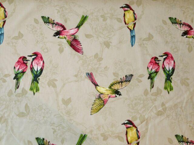 PRESTIGIOUS PARADISO LINEN BIRDS FLORAL COTTON CURTAIN SOFT FURNISHING FABRIC