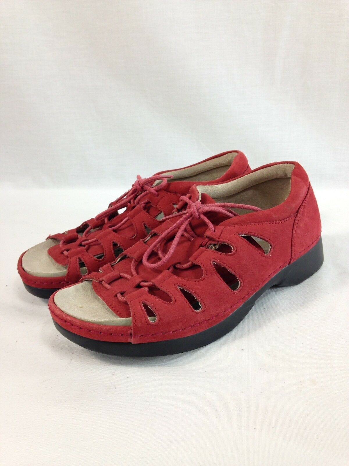 Propet Sandals shoes Womens 6 X(2E) Red Leather Suede Open Toe Lace Up Comfort