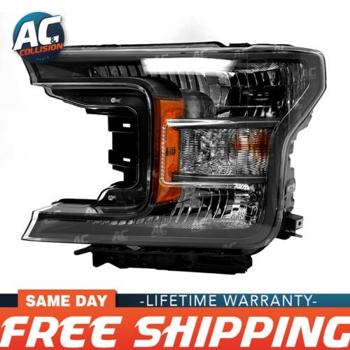 FO2502373 Headlight Assembly Halogen Driver Side for 18-19 Ford F-150 Black LH