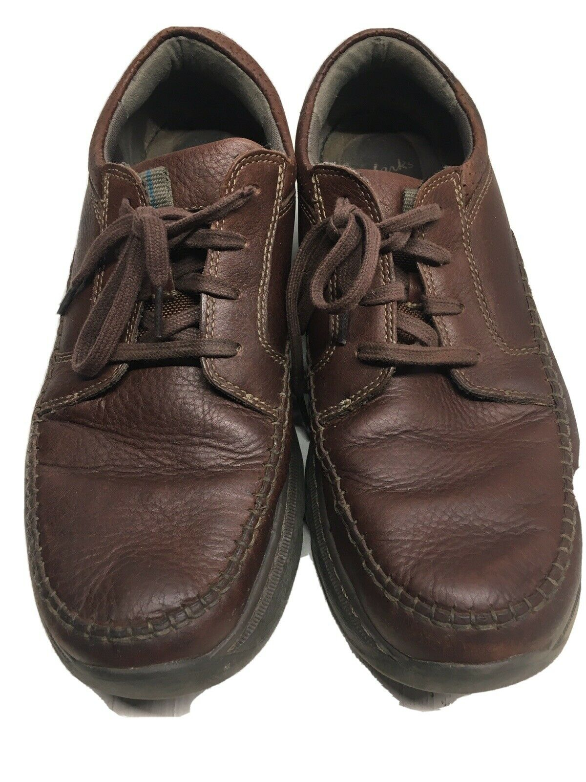 Clarks1825 Leather Casual Comfort Shoes Men's Size11M Brown Lace-Up Max Cushion