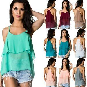 Coqueta-Women-039-s-halter-Flare-Sleeveless-STRAP-Ruffle-chiffon-Shirt-Blouse-Top