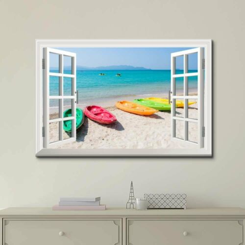 """Canvas Print Boats on the Beach with White SandGiclee Print 24/"""" x 36/"""""""