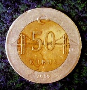 Turkey-50-Kurus-2009-Monetary-Reform-Bi-Metallic-Uncleaned-039-Nice-Details-039