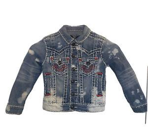 Kids Distressed True Religion Jean Jacket Size 4T | eBay