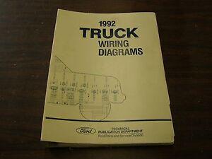 oem ford 1992 truck pickup wiring diagram shop manual book f150 f250 rh ebay com 1992 Ford Van 1985 Ford F-150