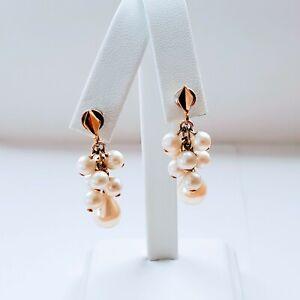 Vintage-Gold-Tone-Faux-Pearl-Drop-Dangle-Pierced-Earrings