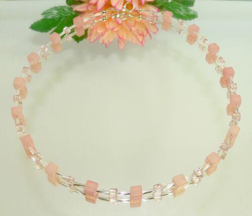 Halskette Kette Perlen Polaris lachs rosa Glas Würfel Modeschmuck 362j