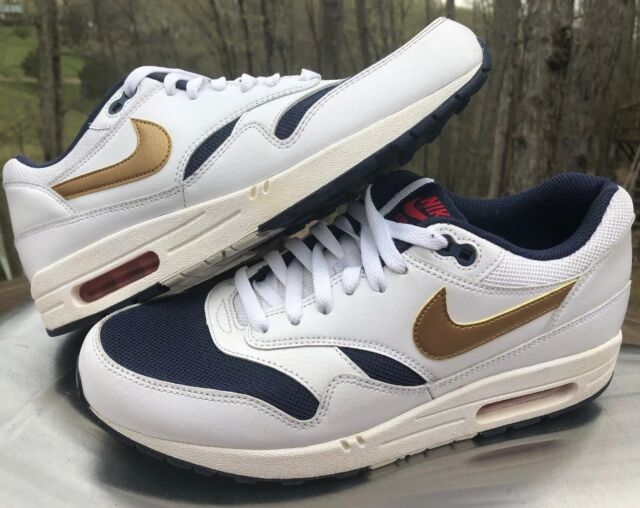 the latest ed830 2a8e6 RARE NIKE AIR MAX 1 ESSENTIAL USA OLYMPIC 537383 127 MENS 10 GOLD RED WHITE  BLUE