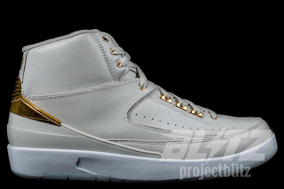 Air jordan 2 retro - q54 quai 54 sz - 15 leichte knochen metallisches gold weiß 866035-001