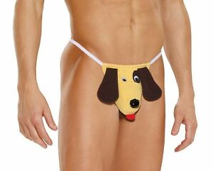Mens Funny Underwear Dog Thong Novelty Gag Gift Puppy Pouch Brown ...