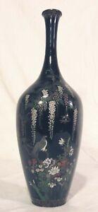 Japanese Black Silver Wire Cloisonné Meiji Vase Falcon Hawk Eagle Wisteria