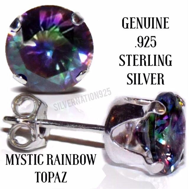 3MM-10MM  MYSTIC RAINBOW TOPAZ ~ 4MM Men or Ladies Sterling Silver Stud Earrings