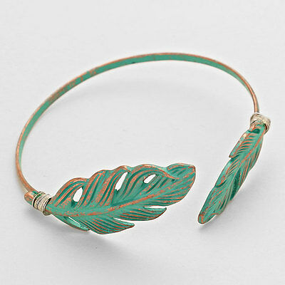 patina leaf cuff bracelet bangle boho