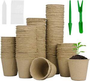 Mhonniwa 100 Pcs 3.15'' Peat Pots for Seeding Biodegradable Seed Starter Pots