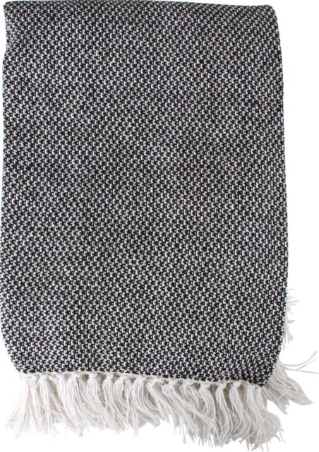 Athens Cotton Throw Blanket With Ecru Tassels Black Cream Super Soft 125x150 M&C