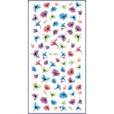 Nail Art Water Transfer Sticker Colorful Ink Flower Decal Manicure