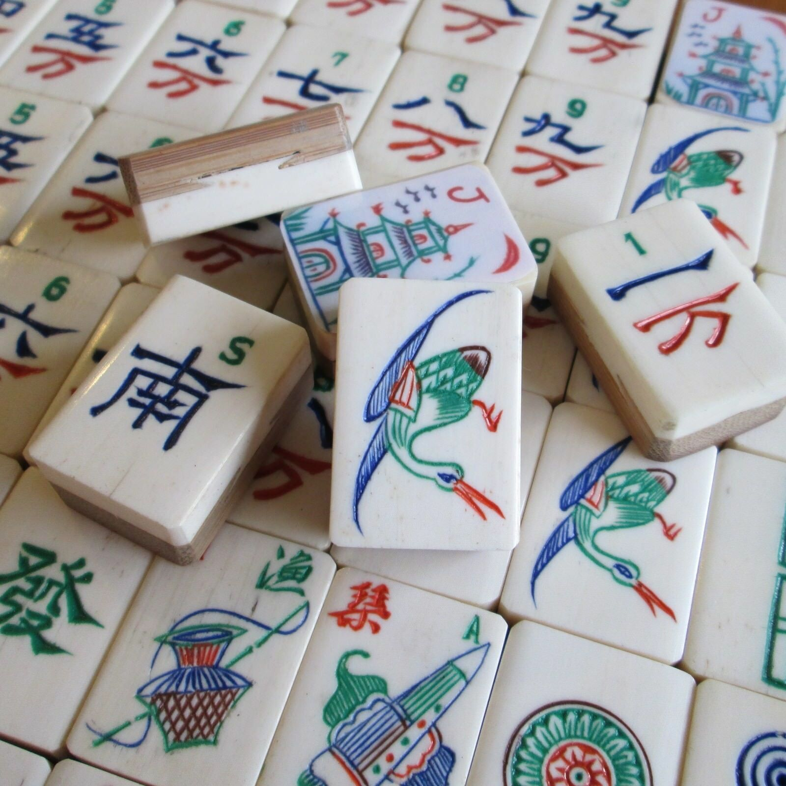 Boxy Boxy Boxy Style Carvings Vtg 152 Tiles Bone & Bamboo Mahjong Set Carved Box Mah Jongg c7ccba