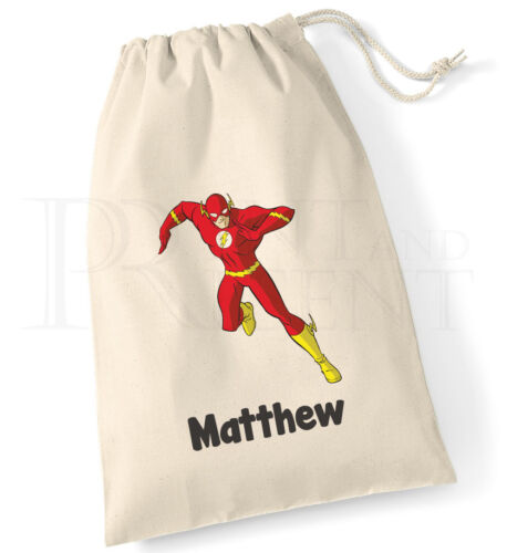 Personalised Childrens The Flash Justice League Drawstring Canvas Gym PE Bag