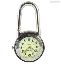 Shiny Silver Metal Carabiner FOB Watch Ideal for Doctors Nurses Paramedics Chefs