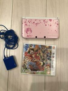 Nintendo 3DS LL XL Console One Piece Chopper Pink w/Charger and game Used JP