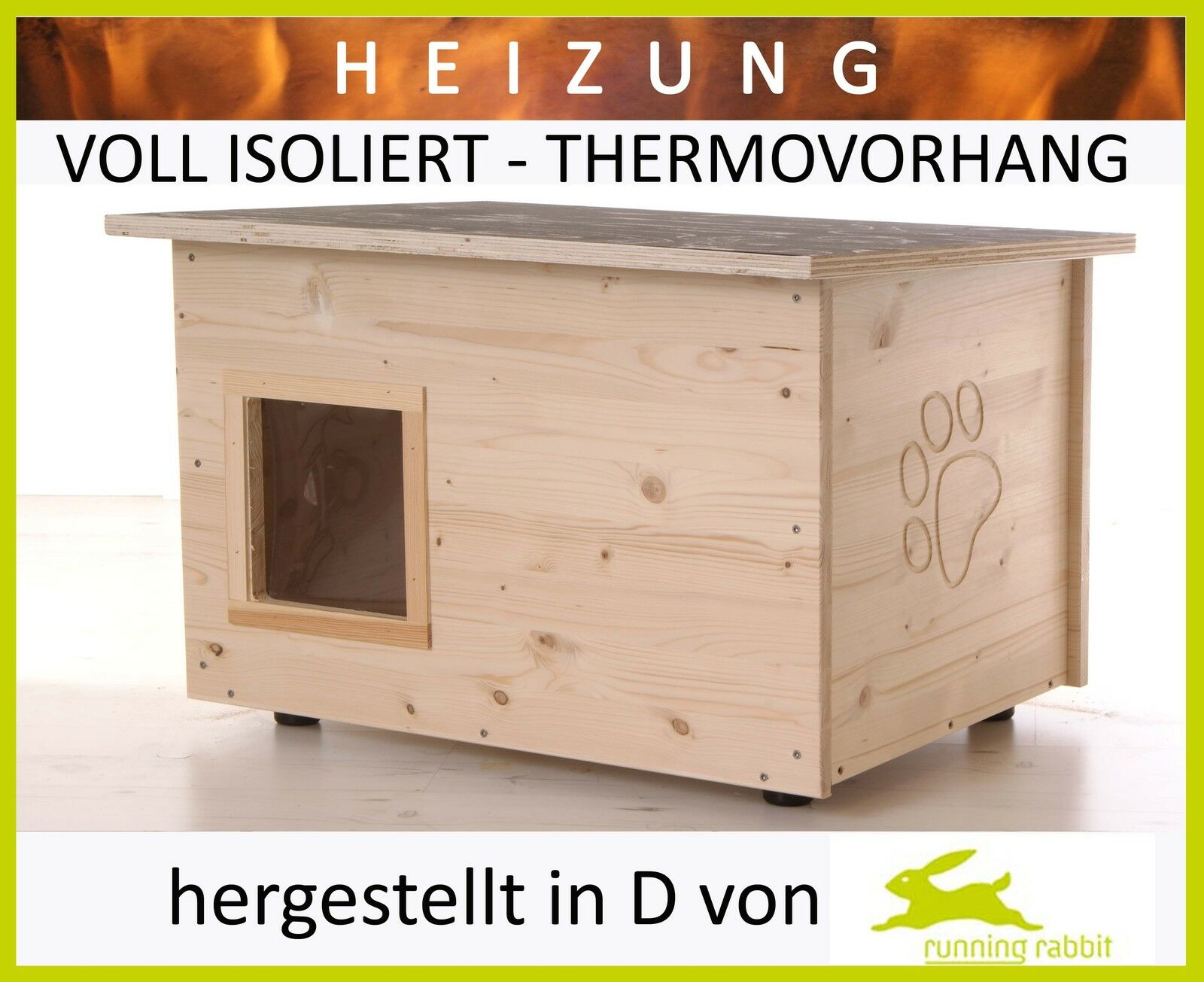 Katzenhaus mit Heizung - Boden Wände wärmegedämmt – – – Thermovorhang - Katzenhütte 8c4283