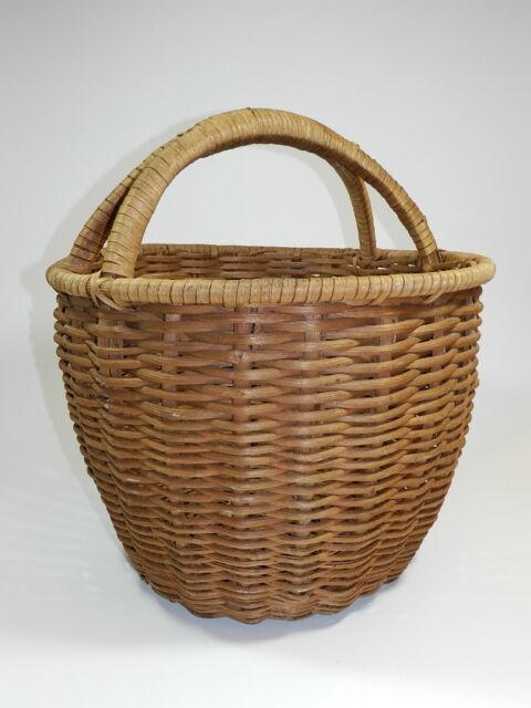 "Antique Woven Basket Natural Patina Large 20"" Tall"