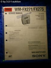 Sony Service Manual WM FX271 /FX275 Cassette Player (#4402)