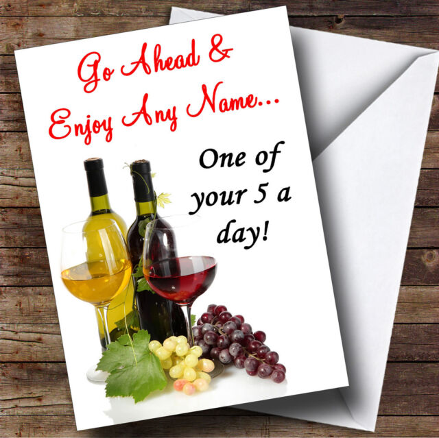 Wine a day funny personalised birthday greetings card ebay wine a day funny personalised birthday greetings card m4hsunfo